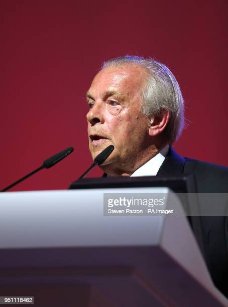 Chief Executive of the PFA Gordon Taylor on stage during the 2018 PFA Awards at the Grosvenor House Hotel London
