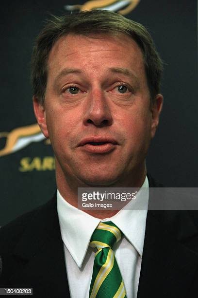 Chief Executive of the SARU Jurie Roux attends a media briefing at Southern Sun Newlands on August 16 2012 in Cape Town South Africa The briefing is...