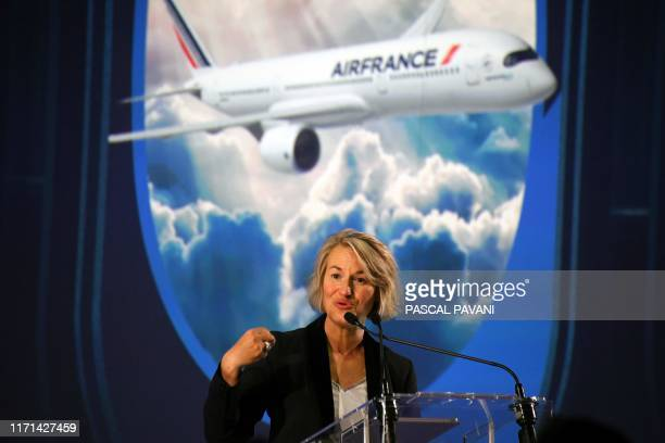 Chief Executive Officer Air France Anne Rigail speaks during the ceremony for the delivery of the company's first Airbus A350 on September 27 2019 at...