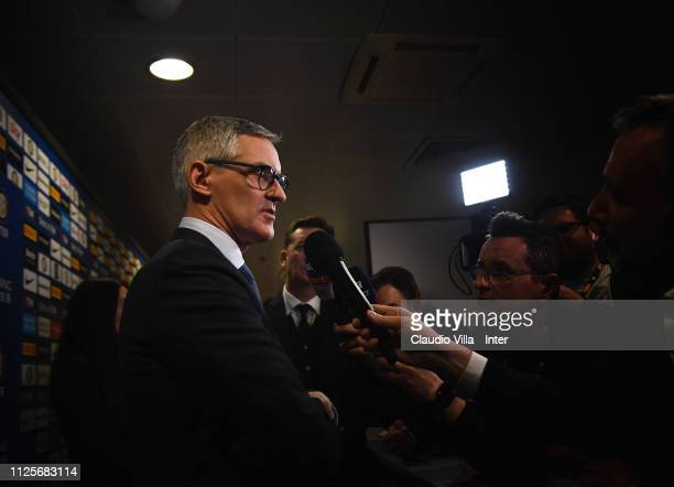 Chief Executive Officer Corporate FC Internazionale Alessandro Antonello speaks with the media during the FC Internazionale shareholders meeting at...