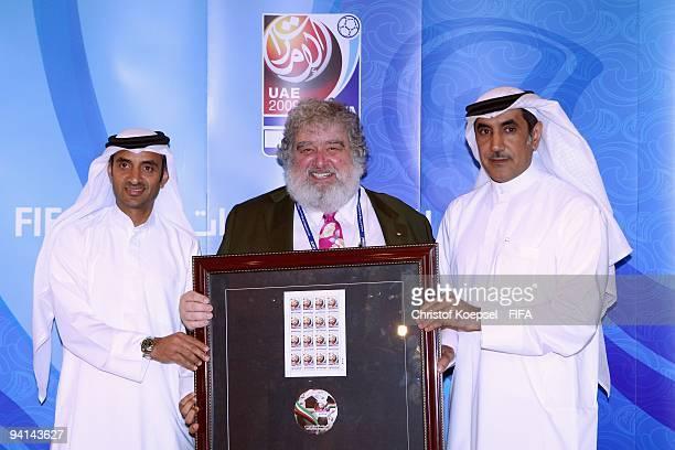 Chief Executive Officer Ebrahim Ben Karam of the Emirates PostChuck Blazer chiarman of FIFA Club World Cup organising committee and Mohammed Khalfan...