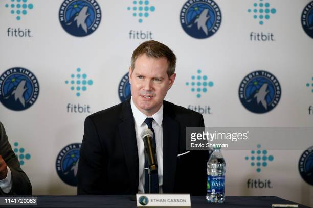 Chief Executive Officer Ethan Casson speaks as Gersson Rosas newly appointed Minnesota Timberwolves President of Basketball Operations is introduced...