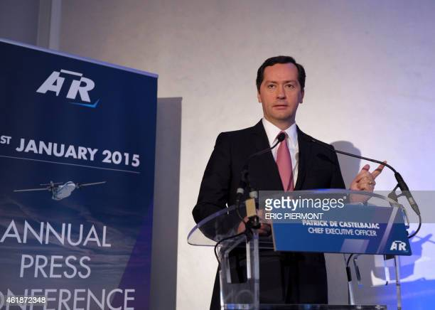 ATR chief executive officer French Patrick de Castelbajac arrives on January 21 2015 to give the aeronautics manufacturer's annual press conference...