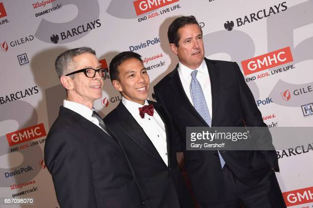 Chief Executive Officer Kelsey Louie with honorees Peter Staley and Jes Staley attend the GMHC 35th Anniversary Spring Gala at Highline Stages on...
