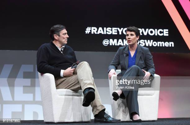 Chief Executive Officer Oath Tim Armstrong and former US Marine and congressional candidate in Kentucky Amy McGrath speak onstage during The 2018...