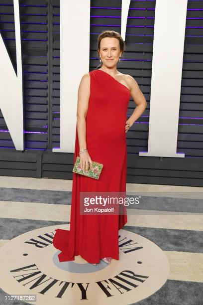 Chief Executive Officer of 23andMe Anne Wojcicki attends the 2019 Vanity Fair Oscar Party hosted by Radhika Jones at Wallis Annenberg Center for the...