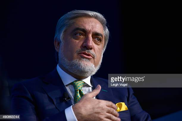 Chief Executive Officer of Afghanistan Abdullah Abdullah speaks during the 2015 Concordia Summit at Grand Hyatt New York on October 1 2015 in New...