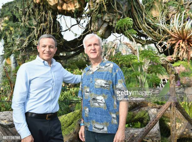 Chief Executive Officer of Disney Bob Iger and James Cameron attends the Pandora The World Of Avatar Dedication at the Disney Animal Kingdom on May...