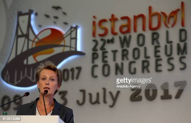 Chief Executive Officer of DNV GL Oil and Gas Elisabeth Torstad speaks during the 22nd World Petroleum Congress at Lutfi Kirdar International...