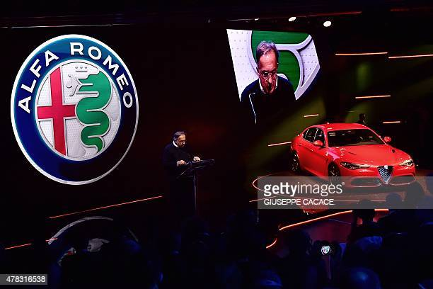 Chief Executive Officer of Fiat Chrysler Automobiles Group Sergio Marchionne delivers a speech during the presentation of the new Alfa Romeo car...