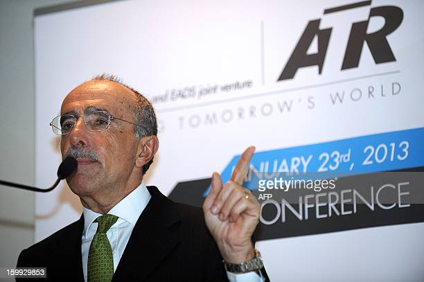 Chief executive officer of Franco-Italian aeronautics manufacturer ATR Filippo Bagnato speaks during the ATR's press conference on January 23, 2013...