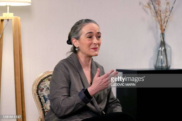 """Chief Executive Officer of French TV Group France Televisions Delphine Ernotte takes part to the """"Felix Delire"""" first filming story for Lumni.fr a..."""