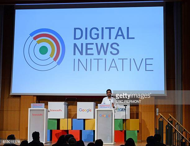 Chief Executive Officer of Google Inc Sundar Pichai addresses a meeting at SciencesPo university in Paris on February 24,2016. / AFP / ERIC PIERMONT