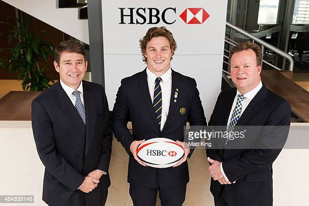 Chief Executive Officer of HSBC Australia Tony Cripps Wallaby Michael Hooper and Chief Executive Officer of Australian Rugby Union Bill Pulver during...