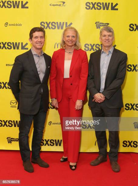 Chief Executive Officer of Johnson Johnson Alex Gorsky CEO of IBM Ginni Rometty and Dean of Dell Medical School Clay Johnston attend 'Collaborative...