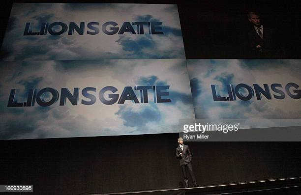 Chief Executive Officer of Lions Gate Entertainment, Jon Feltheimer speaks during a Lionsgate Motion Picture Group presentation at the Lionsgate...