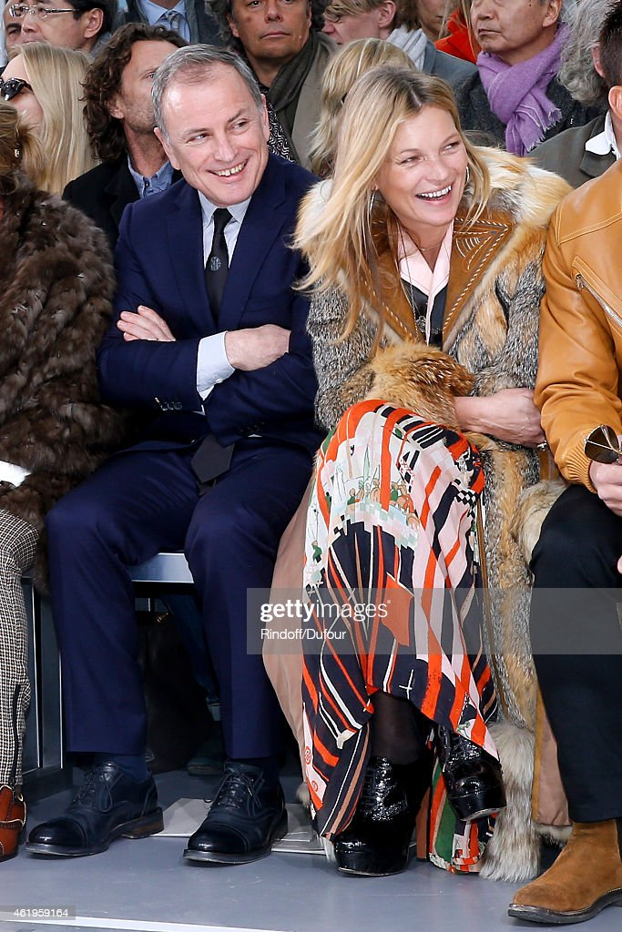 Chief Executive Officer of Louis Vuitton, Michael Burke and Model Kate Moss attend the Louis Vuitton Menswear Fall/Winter 2015-2016 Show as part of Paris Fashion Week on January 22, 2015 in Paris, France.