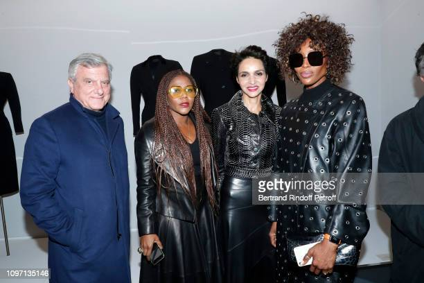 Chief Executive Officer of LVMH Fashion Group Sidney Toledano a guest Farida Khelfa and Model Naomi Campbell attend the Tribute To Azzedine Alaia as...