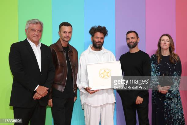 Chief Executive Officer of LVMH Fashion Group Sidney Toledano, artistic director at Berluti Kris Van Assche, Karl Lagerfeld Prize Hed Mayner, stylist...