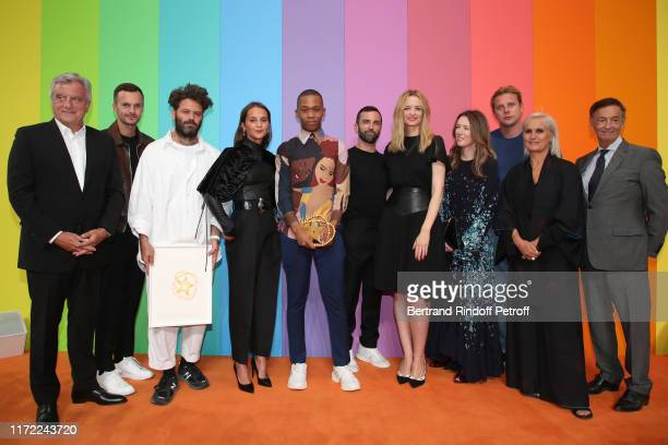 Chief Executive Officer of LVMH Fashion Group Sidney Toledano, artistic director at Berluti Kris Van Assche, Karl Lagerfeld Prize Hed Mayner, Alicia...