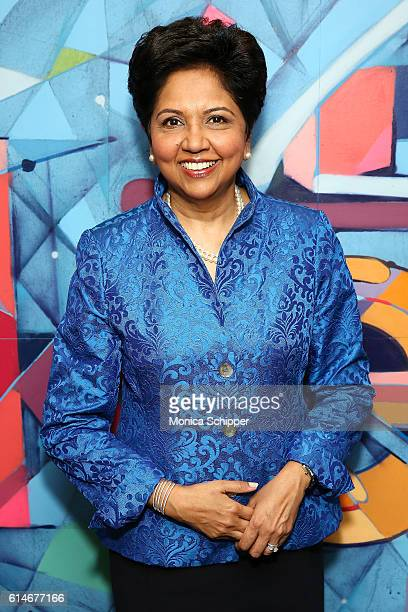 Chief Executive Officer of PepsiCo Indra Nooyi poses for a photo when she visits to sit down with LinkedIn Executive Editor Dan Roth at LinkedIn on...