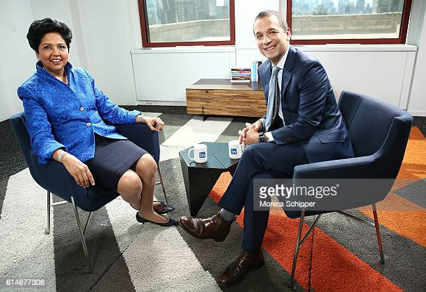 Chief Executive Officer of PepsiCo Indra Nooyi poses for a photo with LinkedIn Executive Editor Dan Roth at LinkedIn on October 14 2016 in New York...
