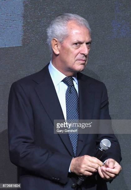 Chief Executive Officer of Pirelli C SpA Marco Tronchetti Provera seen on stage during the Pirelli Calendar 2018 Launch press conference at The...