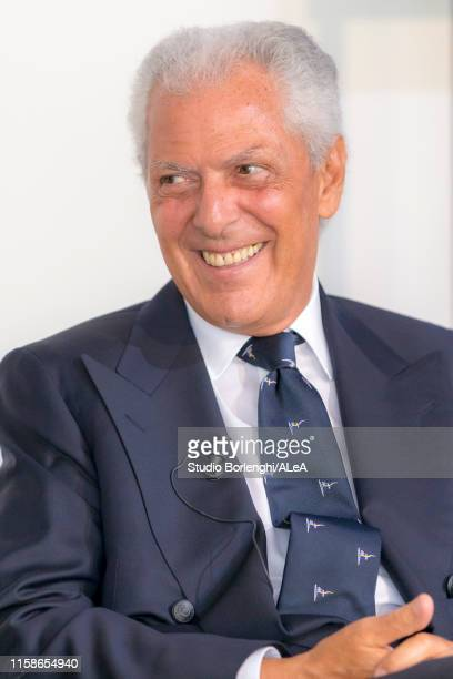 Chief Executive Officer of Pirelli, Marco Tronchetti Provera is interviewed during the Luna Rossa team presentation for the America's Cup 2021 on...