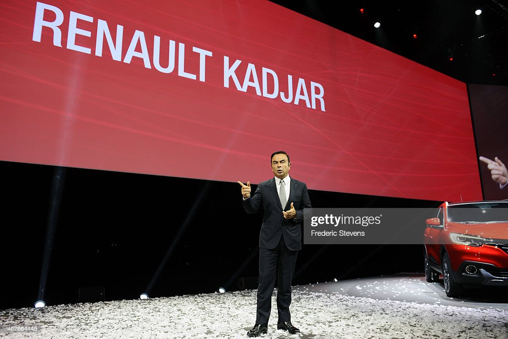 Chief executive officer of Renault SA Carlos Ghosn presents the new Kadjar car at La Cite du Cinema on February 2, 2015 in Saint-Denis, France. The Kadjar will be the first Renault vehicle to be manufactured in China in their Wuhan factory.