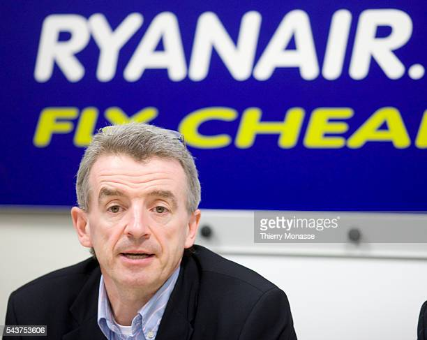 Chief Executive Officer of Ryanair Michael O'Leary looks on during a media conference in Brussels