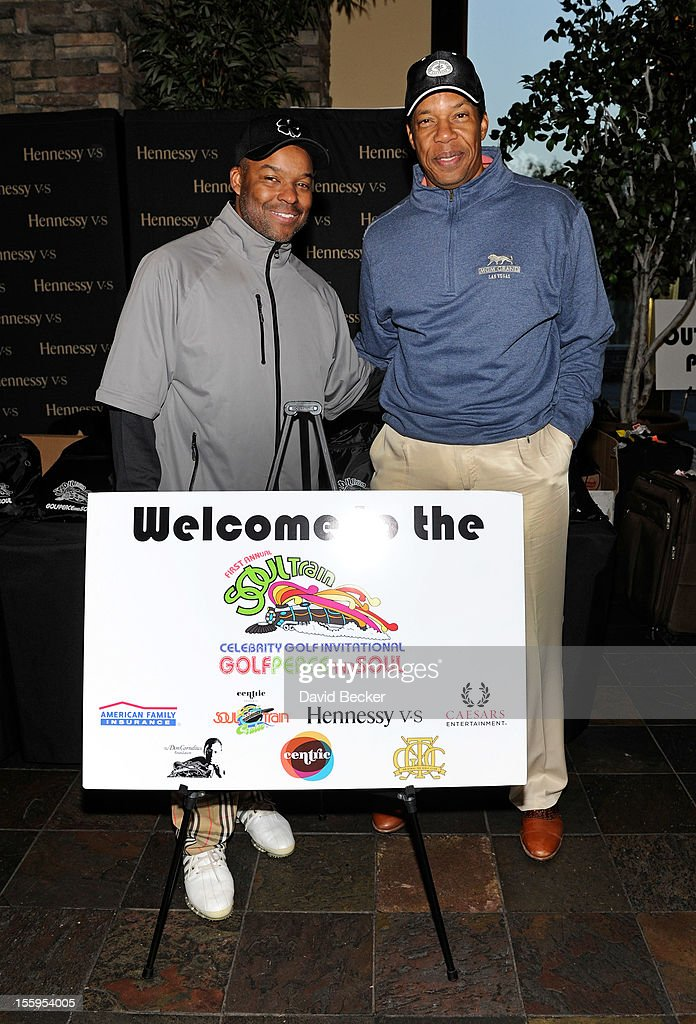 Chief Executive Officer of Soul Train Holdings Kenard Gibbs (L) and producer Tony Cornelius attend the first annual Soul Train Celebrity Golf Invitational presented by Hennessy at the Las Vegas Paiute Golf Resort on November 9, 2012 in Las Vegas, Nevada.