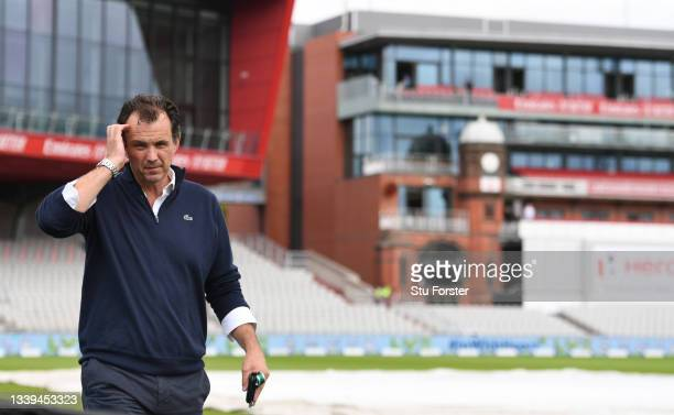 Chief Executive Officer of the England and Wales Cricket Board Tom Harrison pictured as he walks around the pitch to give a television interview...