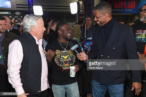 Chief Executive Officer of the New England Patriots Robert Kraft Kevin Hart and A J Calloway speak during SiriusXM at Super Bowl LIII Radio Row at...
