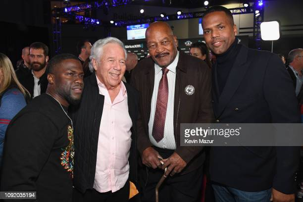 Chief Executive Officer of the New England Patriots Robert Kraft Jim Brown Kevin Hart and A J Calloway speak during SiriusXM at Super Bowl LIII Radio...