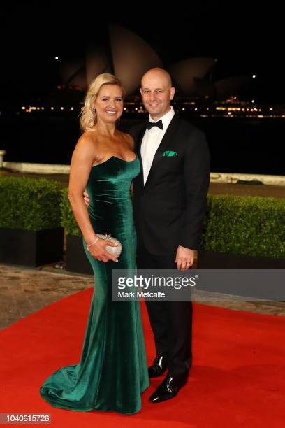 Chief Executive Officer of the NRL Todd Greenberg and his wife Lisa arrive at the 2018 Dally M Awards at Overseas Passenger Terminal on September 26...