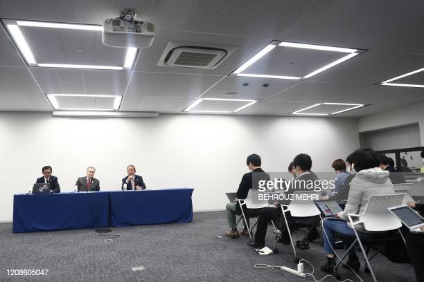 Chief executive officer of the Tokyo 2020 Olympics Toshiro Muto addresses the media as Tokyo 2020 president Yoshiro Mori listens during a press...
