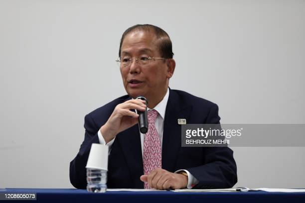Chief executive officer of the Tokyo 2020 Olympics Toshiro Muto addresses the media during a press conference in Tokyo on March 30 2020 Postponed...