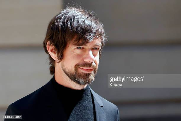 Chief executive officer of Twitter Inc and Square Inc Jack Dorsey arrives to attend the Tech for Good Summit at Hotel de Marigny on May 15 2019 in...