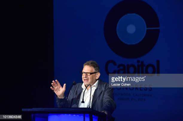 Chief Executive Officer of Universal Music Group Sir Lucian Grainge speaks onstage during Capitol Music Group's 5th annual Capitol Congress Premieres...
