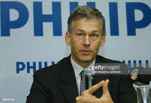 Chief Executive Officer Philips Semiconductors Frans Van Houten addresses a press conference during the inauguration of Philips India's innovation...