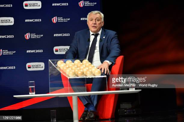 Chief Executive Officer- Rugby World Cup France 2023 Claude Atcher is interviewed during the Rugby World Cup France 2023 draw at Palais Brongniart on...