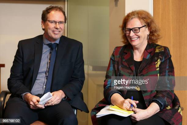 Chief Executive Paul Thompson and NZ On Air Chief Executive Jane WrightsonÊlook on during a media conference at Radio New Zealand on July 11 2018 in...