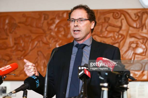 Chief Executive Paul Thompson speaks during a media conference at Radio New Zealand on July 11 2018 in Wellington New Zealand A new $6 million...