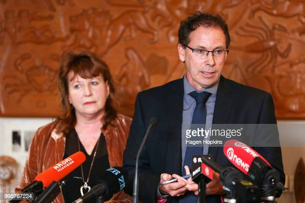 Chief Executive Paul Thompson speaks while Broadcasting Communications and Digital Media Minister Clare Curran looks on during a media conference at...