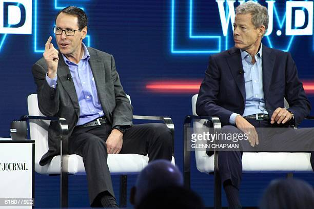 ATT chief executive Randall Stephenson and Time Warner chief executive Jeffrey Bewkes defend the proposed megamerger of the companies at a WSJD Live...