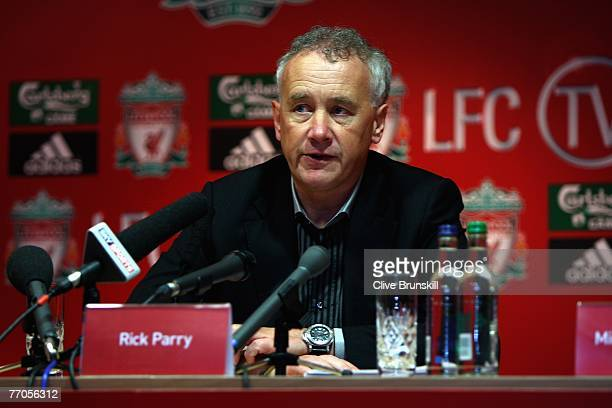 LFC chief executive Rick Parry speaks at the press conference to launch LFC TV carried on Setanta Sports channel on September 27 2007 at Anfield in...