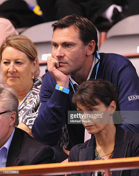 LTA chief executive Roger Draper looks on during day one of the Fed Cup World Group Two PlayOffs between Sweden and Great Britain at Borashallen on...