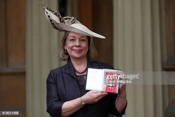 Chief Executive Sport England Jennifer Price poses with her medal after she was appointed a Commander of the Order of the British Empire for services...