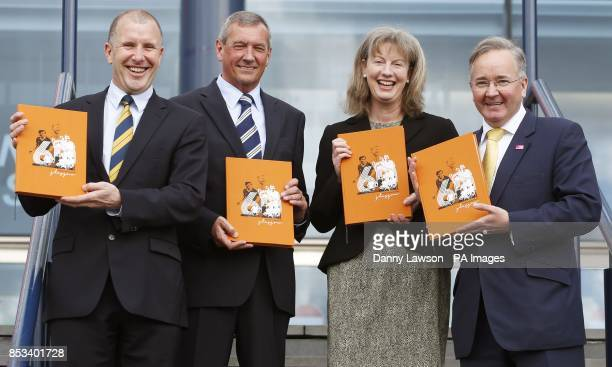 FA Chief Executive Stewart Regan Scottish FA President Campbell Ogilvie Cabinet Secretary for Commonwealth Games Shona Robison and Leader of Glasgow...
