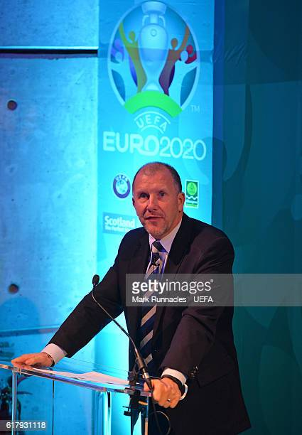 Chief Executive Stewart Regan speaks during the Glasgow UEFA EURO 2020 Host City Logo Launch at the Glasgow Science Centre on October 25 2016 in...